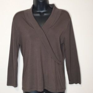 Pendleton V-Neck Silk Blouse 3/4 Sleeve Med Brown